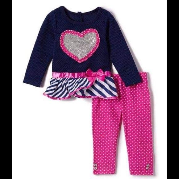 Nannette Blue Sequin Heart Top & Pink Leggings Set